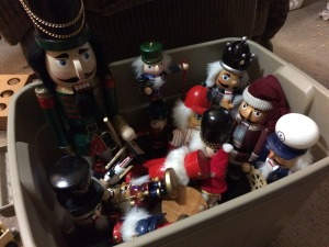 Nutcrackers in a bin