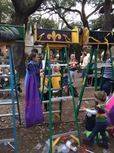 Mardi Gras ladder for little kids.