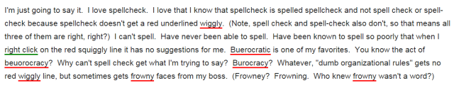 Yay!  Success! Spellcheck is correct because WordPress says it is.