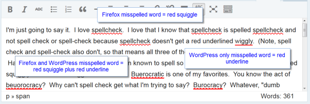 Vindicated! Spellcheck is okay according to WordPress on two different browsers.