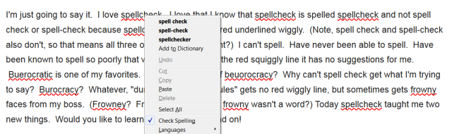 Ah, the travesty!  Spellcheck has red squiggles in Firefox, and it suggests spell check (two words) or spell-check!  My Chrome spellcheck has failed me for Firefox readers!